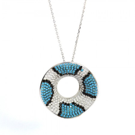 Renkli Zirkon Taşlı Dalgalı Tasarım 925 Ayar Gümüş Bayan Kolye - Thumbnail