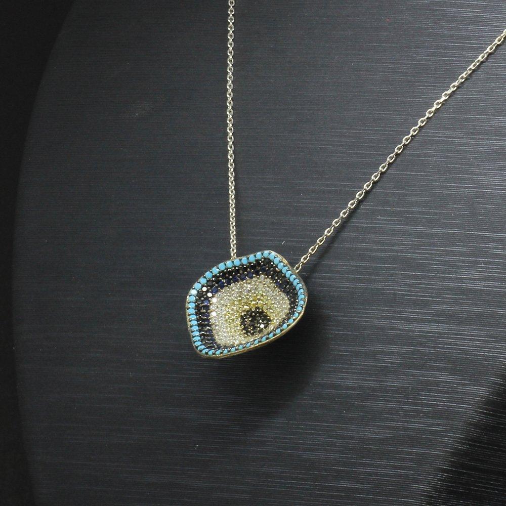 Zirkon Taşlı Nazar Boncuğu Derin Tasarım 925 Ayar Gümüş Bayan Kolye