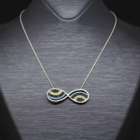 Tesbihane - Zirkon Taşlı Nazar Boncuğu Sonsuzluk Tasarım 925 Ayar Gümüş Bayan Kolye