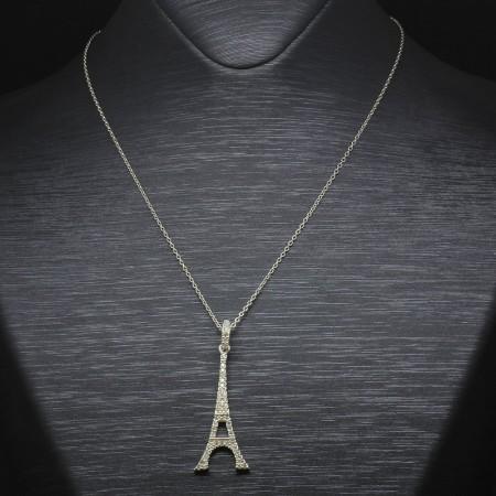 Tesbihane - Beyaz Zirkon Taşlı Eyfel Kulesi Tasarım 925 Ayar Gümüş Bayan Kolye
