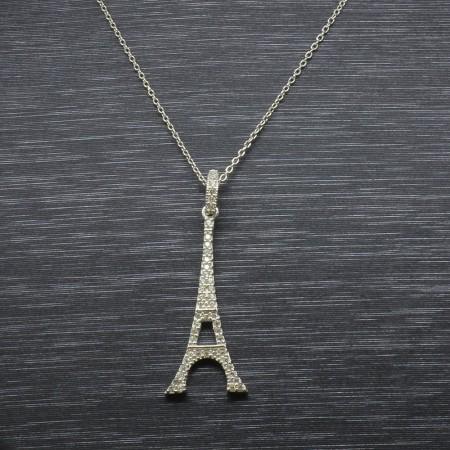 Beyaz Zirkon Taşlı Eyfel Kulesi Tasarım 925 Ayar Gümüş Bayan Kolye - Thumbnail
