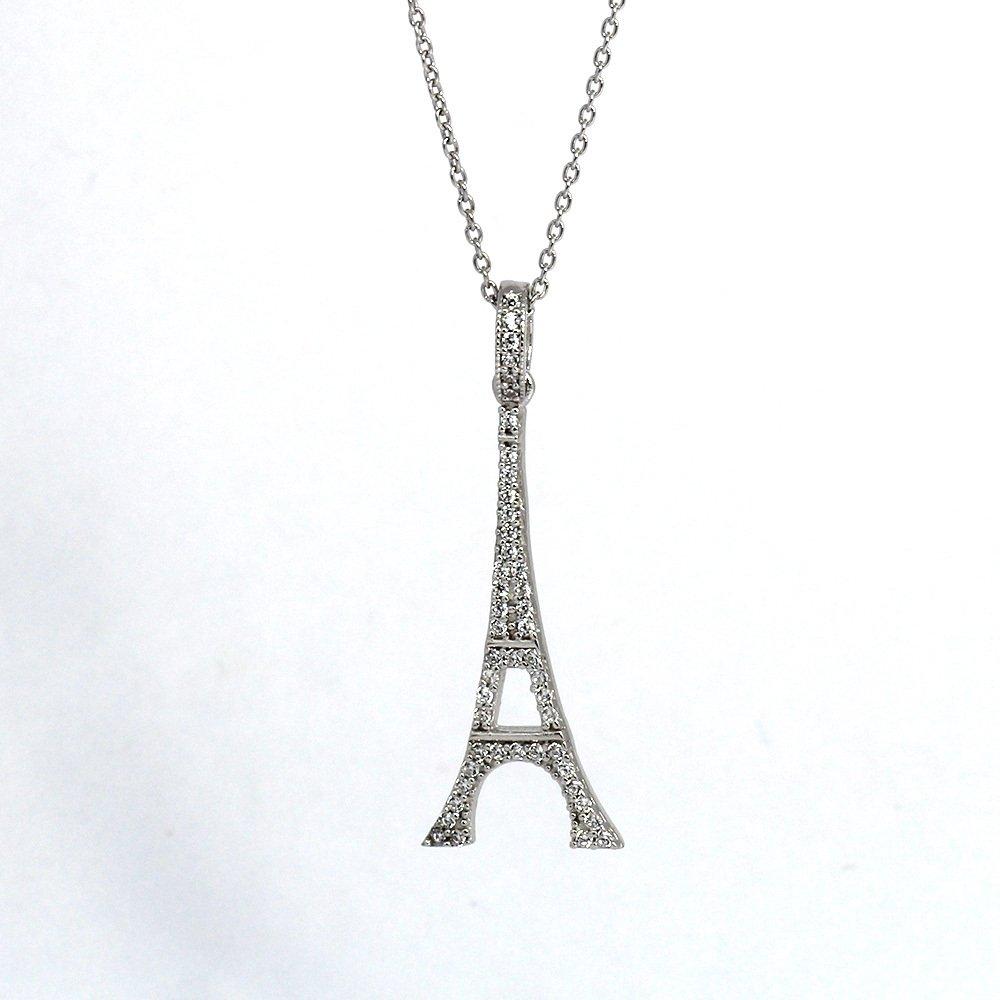 Beyaz Zirkon Taşlı Eyfel Kulesi Tasarım 925 Ayar Gümüş Bayan Kolye