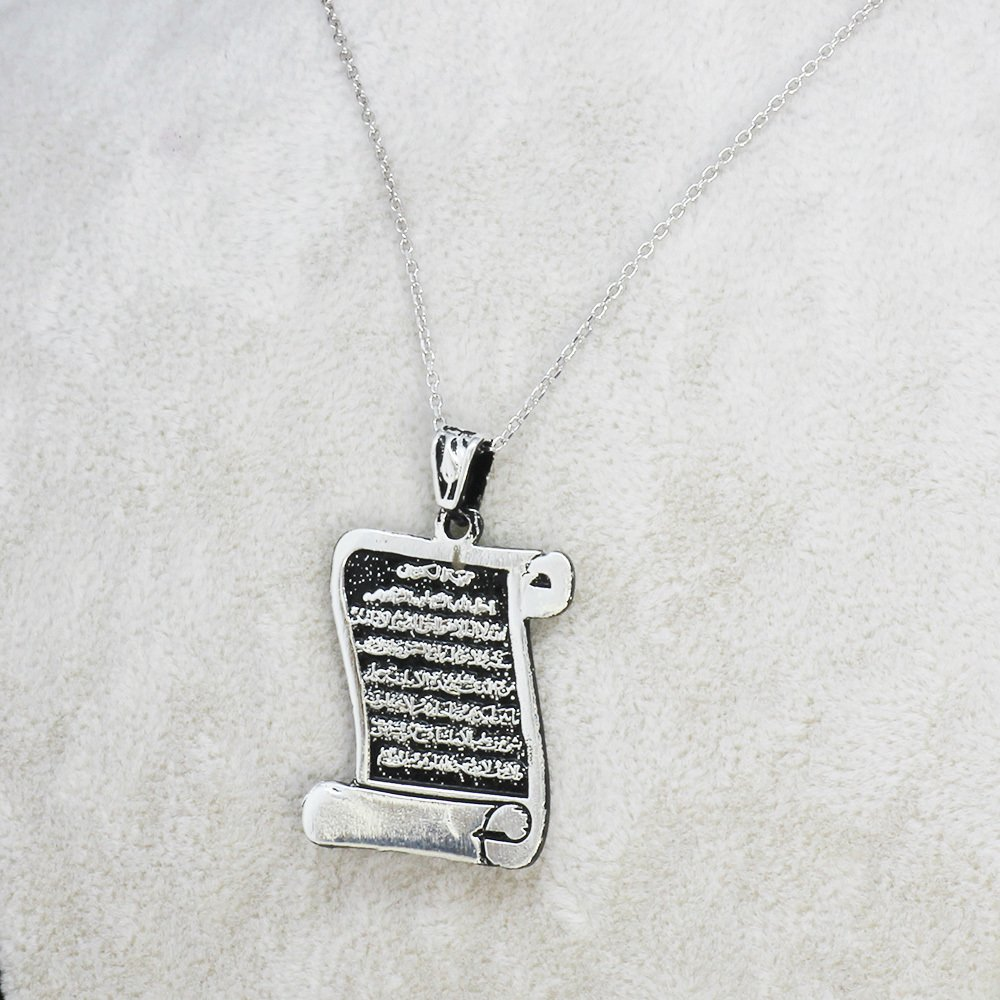 Ayet-El Kürsi Yazılı Ferman Tasarım 925 Ayar Gümüş Bayan Kolye