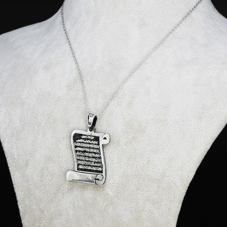 Tesbihane - Ayet-El Kürsi Yazılı Ferman Tasarım 925 Ayar Gümüş Bayan Kolye