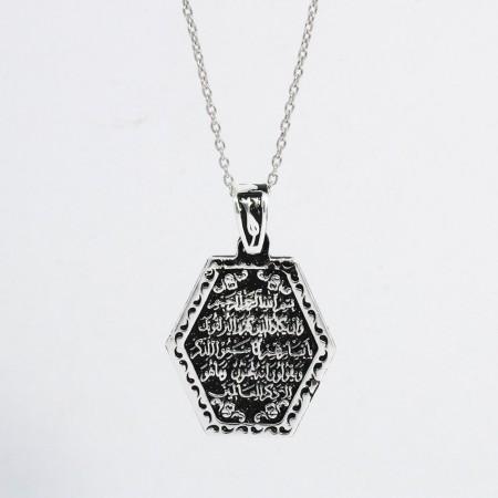 Kalem Suresi 51. Ayet Yazılı Altıgen Tasarım 925 Ayar Gümüş Bayan Kolye - Thumbnail