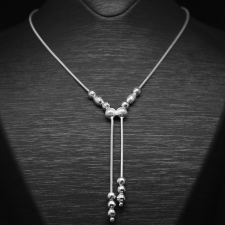 Tesbihane - 925 Ayar Gümüş Bayan Kolye (Model-56)