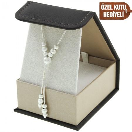 Tesbihane - 925 Ayar Gümüş Bayan Kolye (Model-57)