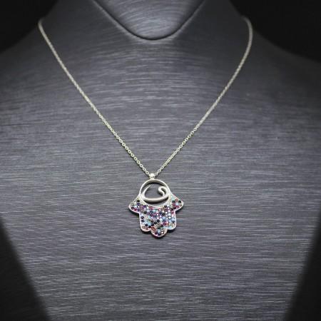 Tesbihane - 925 Ayar Gümüş Bayan Kolye (Model-60)