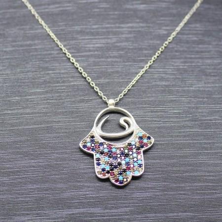 Renkli Zirkon Taşlı Vavlı Fatma Ana Eli Tasarım 925 Ayar Gümüş Bayan Kolye - Thumbnail