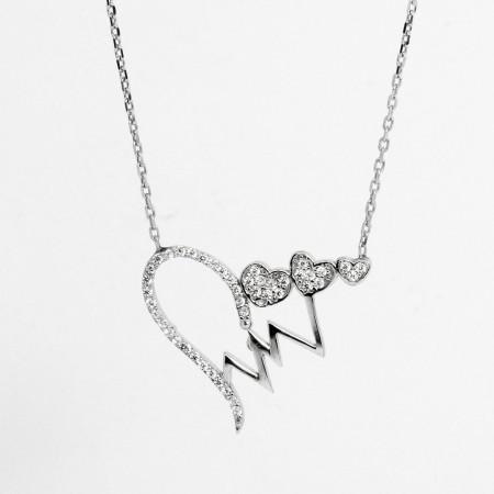925 Ayar Gümüş Bayan Kolye (Model-65) - Thumbnail