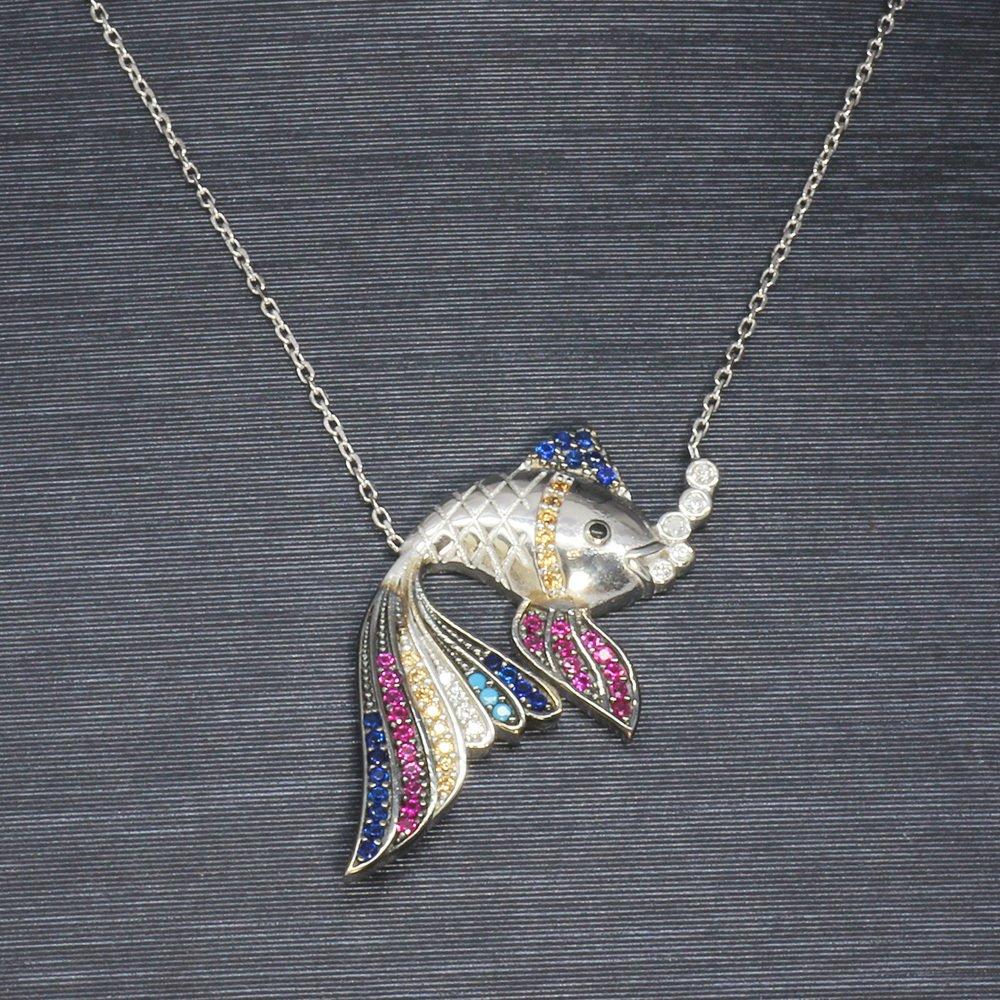 Renkli Zirkon Taşlı Balık Tasarım 925 Ayar Gümüş Bayan Kolye