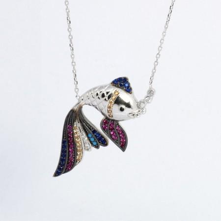 Renkli Zirkon Taşlı Balık Tasarım 925 Ayar Gümüş Bayan Kolye - Thumbnail