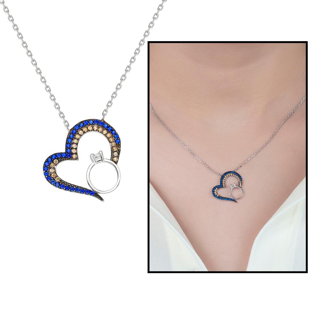 Renkli Zirkon Taşlı Kalp-Tektaş Tasarım 925 Ayar Gümüş Bayan Kolye