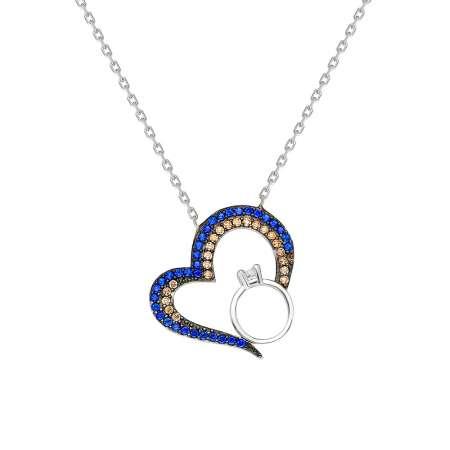 Renkli Zirkon Taşlı Kalp-Tektaş Tasarım 925 Ayar Gümüş Bayan Kolye - Thumbnail