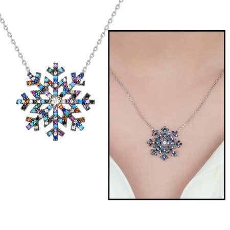Tesbihane - Renkli Zirkon Taşlı Kar Tanesi Tasarım 925 Ayar Gümüş Bayan Kolye