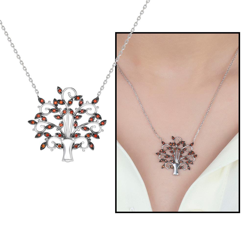 Turuncu Zirkon Taşlı Çınar Ağacı Tasarım 925 Ayar Gümüş Bayan Kolye