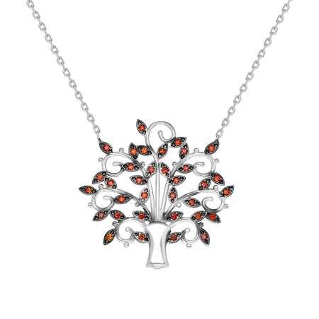 Turuncu Zirkon Taşlı Çınar Ağacı Tasarım 925 Ayar Gümüş Bayan Kolye - Thumbnail