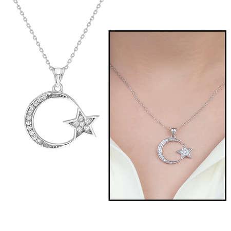 Tesbihane - Beyaz Zirkon Taşlı Ayyıldız 925 Ayar Gümüş Bayan Kolye