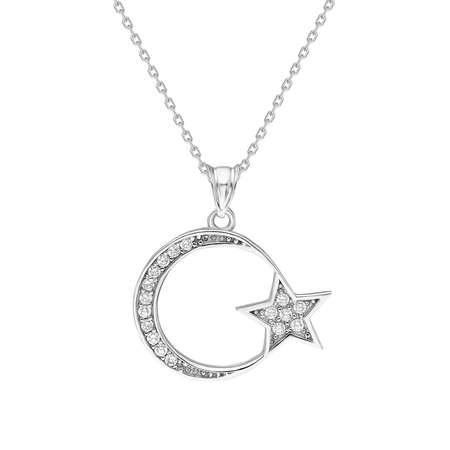 Beyaz Zirkon Taşlı Ayyıldız 925 Ayar Gümüş Bayan Kolye - Thumbnail