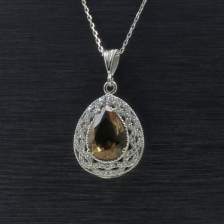 Tesbihane - 925 Ayar Gümüş Bayan Kolye (Model-80)