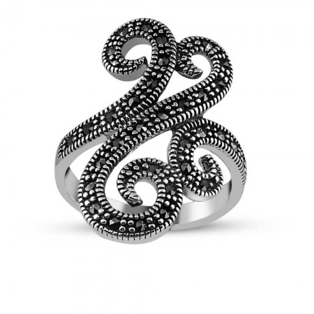 Tesbihane - 925 Ayar Gümüş Bayan Sarmaşık Yüzük