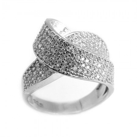 Tesbihane - 925 Ayar Gümüş Zirkon Taş İşlemeli Asimetrik Tasarım Bayan Yüzük