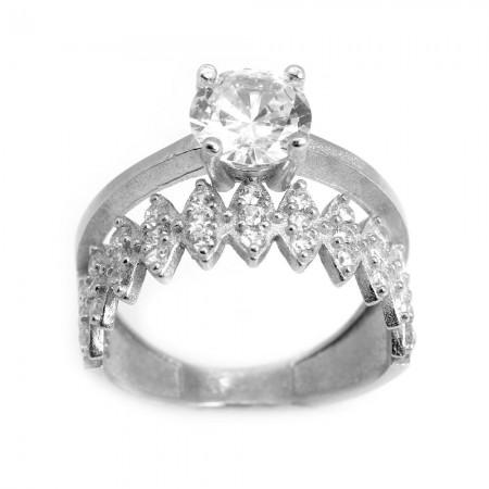 Tesbihane - 925 Ayar Gümüş Zirkon Taşlı Taç Tasarım Bayan Yüzük