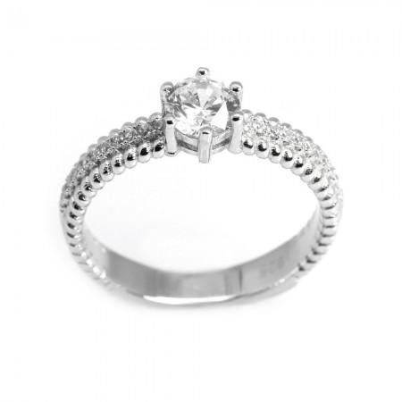 925 Ayar Gümüş Zirkon Taşlı Spiral Tasarım Bayan Yüzük - Thumbnail