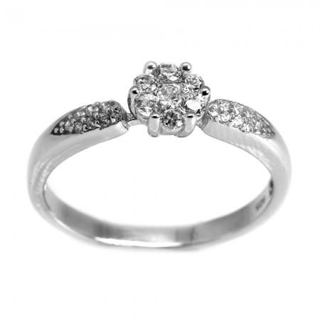 925 Ayar Gümüş Zirkon Taşlı Çiçek Tasarım Bayan Yüzük - Thumbnail
