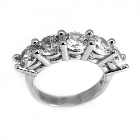 Tesbihane - 925 Ayar Gümüş Zirkon Taşlı Klasik Beştaş Yüzük