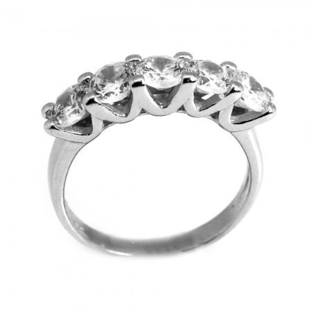 Tesbihane - 925 Ayar Gümüş Zirkon Taşlı V Tasarım Beştaş Yüzük