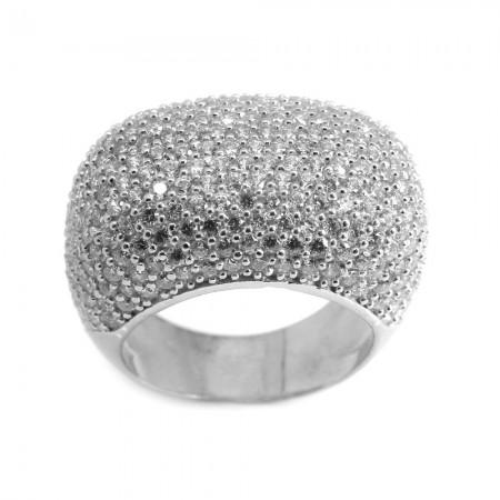 Tesbihane - 925 Ayar Gümüş Yoğun Zirkon Taş İşlemeli Bayan Yüzük