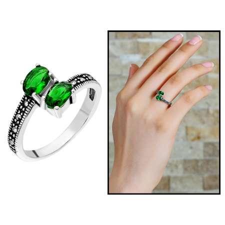 Tesbihane - 925 Ayar Gümüş Yeşil-Siyah Zirkon Taşlı Yarım Tur Bayan Yüzük