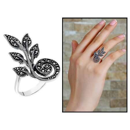 Tesbihane - 925 Ayar Gümüş Siyah Zirkon Taşlı Sarmaşık Tasarım Bayan Yüzük