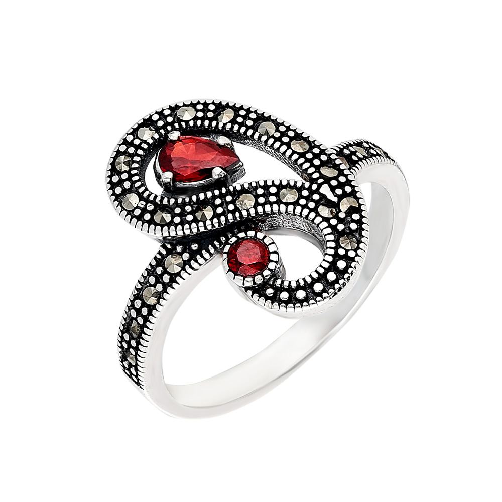 925 Ayar Gümüş Kırmızı-Siyah Zirkon Taşlı Yarım Tur Bayan Yüzük