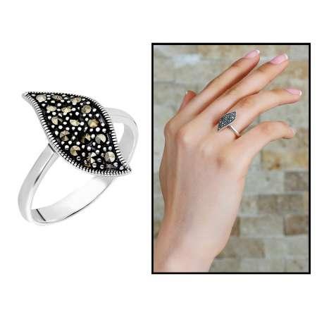 Tesbihane - 925 Ayar Gümüş Zirkon Taşlı Yaprak Tasarım Bayan Yüzük