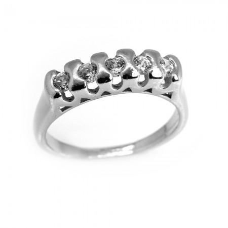 Tesbihane - 925 Ayar Gümüş Mini Zirkon Taşlı Klasik Beştaş Yüzük