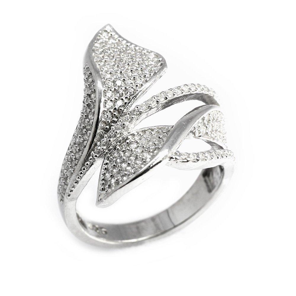 925 Ayar Gümüş Zirkon Taşlı Çift Yaprak Tasarım Bayan Yüzük