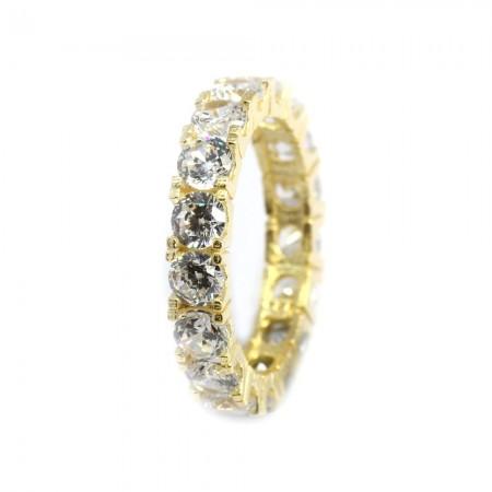 Tesbihane - 925 Ayar Gümüş Zirkon Taş İşlemeli Gold Renk Tam Tur Bayan Yüzük