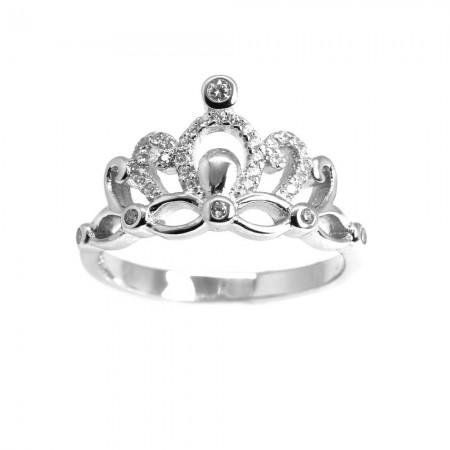 Tesbihane - 925 Ayar Gümüş Zirkon Taş İşlemeli Taç Tasarım Zarif Bayan Yüzük