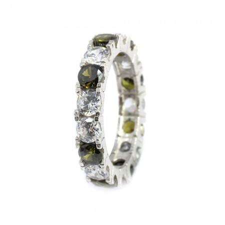 Tesbihane - 925 Ayar Gümüş Yeşil-Beyaz Zirkon Taş İşlemeli Tam Tur Bayan Yüzük