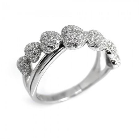 Tesbihane - 925 Ayar Gümüş Zirkon Taşlı Kalp Tasarım Zarif Bayan Yüzük