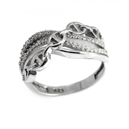 Tesbihane - 925 Ayar Gümüş Zirkon Taşlı Zincir Tasarım Bayan Yüzük