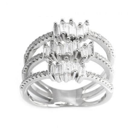 Tesbihane - 925 Ayar Gümüş 3 Sıra Zirkon Taş İşlemeli Bayan Yüzük