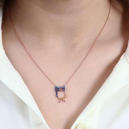 Renkli Zirkon Taşlı Baykuş Tasarım 925 Ayar Gümüş Bayan Kolye - Thumbnail