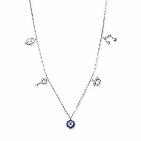 Tesbihane - 925 Ayar Gümüş Beşli Şans Kolye (SDR0027)