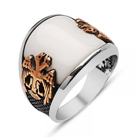 - 925 Ayar Gümüş Beyaz Oniks Taşlı Selçuklu Kartallı Yüzük