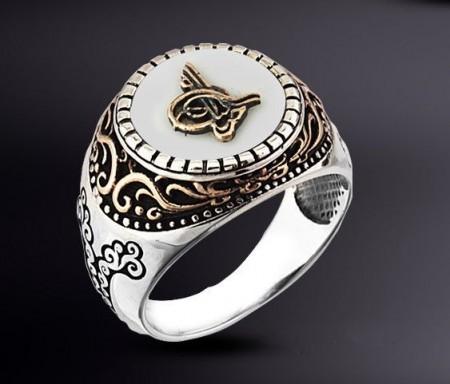 Tesbihane - 925 Ayar Gümüş Beyaz Oniks Taşlı Tuğralı Yüzük