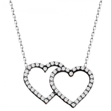Tesbihane - 925 Ayar Gümüş Beyaz Zirkon Taşlı Çift Kalp Kolye