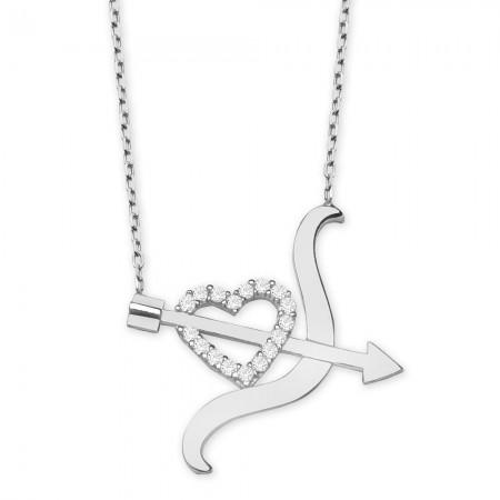 - 925 Ayar Gümüş Beyaz Zirkon Taşlı Kalpli Yay Ok Tasarım Kolye